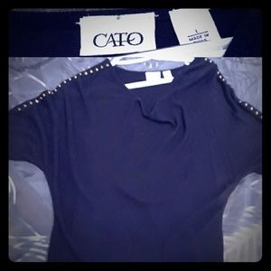 Cato Black blouse, gold studs